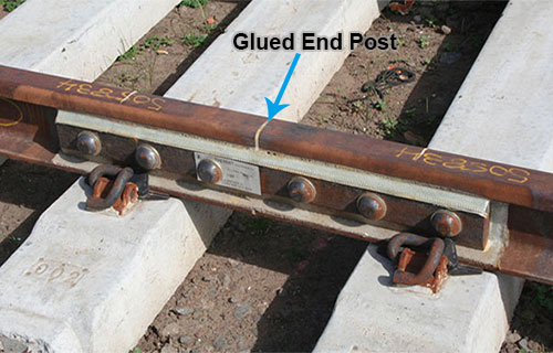 glued end post insulated rail joint